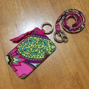 Vera Bradley Zip ID Case & Lanyard Pink Swirls